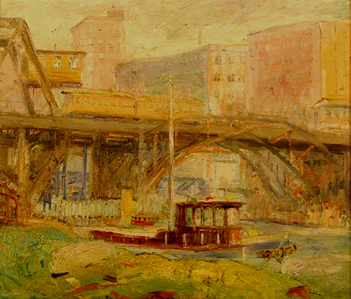 Krehbiel painting of the El Train over the Chicago River Bridge