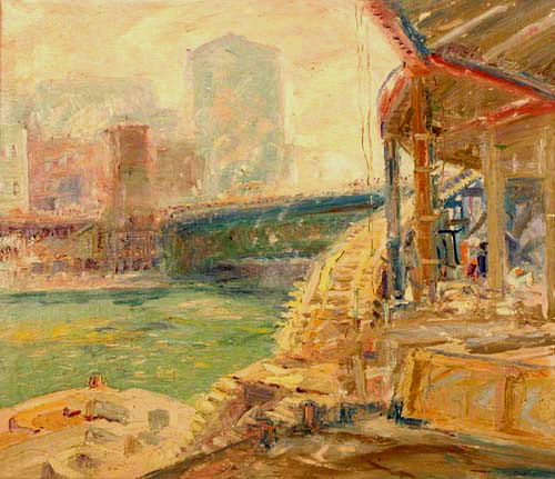 Krehbiel painting of the Lower Deck Along the Chicago River