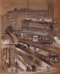 Painting: Chicago El Station