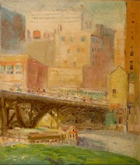Painting: Madison Street Bridge Across the Chicago River, 1925