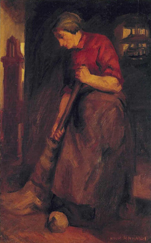 Painting study of Woman Sweeping