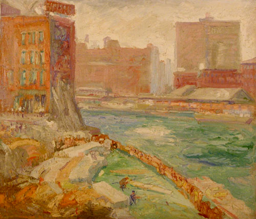 Krehbiel painting of Workmen by the Chicago River Bend