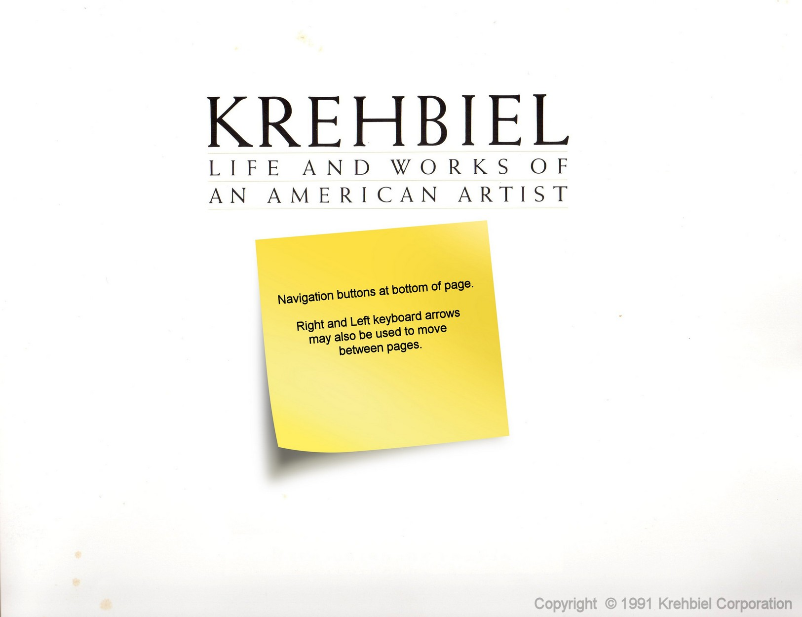 Page i of Krehbiel - Life and Works of an American Artist